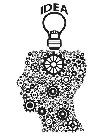 lightbulb idea: isolate ingranaggi testa umana con idea lampadina su sfondo bianco Vettoriali