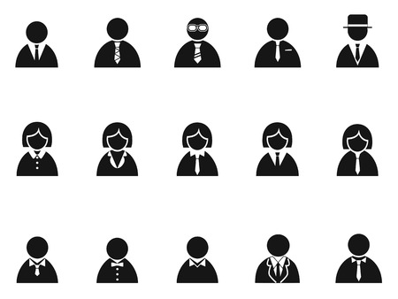 black businessman: isolated simple black businessman avatar icons set from white background