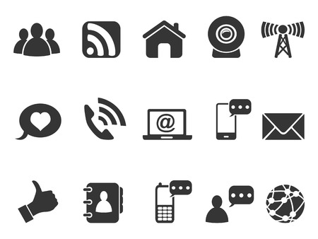 phone call: isolated black internet communication icons set from white background