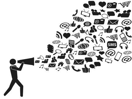 social media marketing: personas con meg�fono comercializaci�n de medios sociales sobre fondo blanco