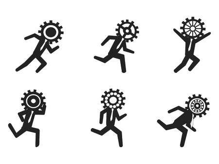 gear head: isolated running businessman with gear head from white background