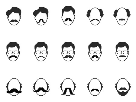 beard man: isolated man with beard and mustache icons set on white background