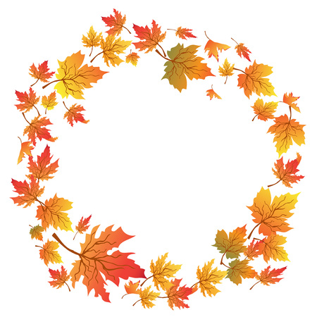 copy space: isolated Maple leaves circle with copy space on white background