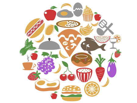food icons: isolated color food icons in circle set from white background