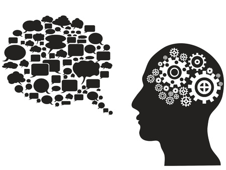 isolated head gears with speech bubble from white background Illustration