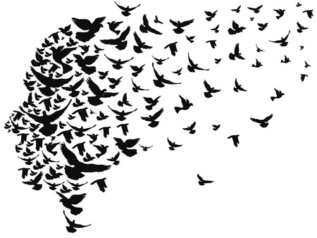 isolated doves flying away with human head from white background