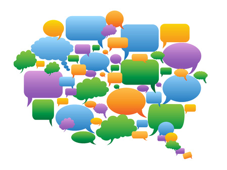 isolated Colorful speech bubbles group in big speech bubble shape on white background Çizim