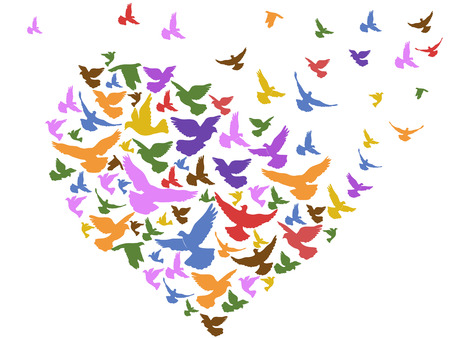 isolated color birds flying with heart from white background Vectores