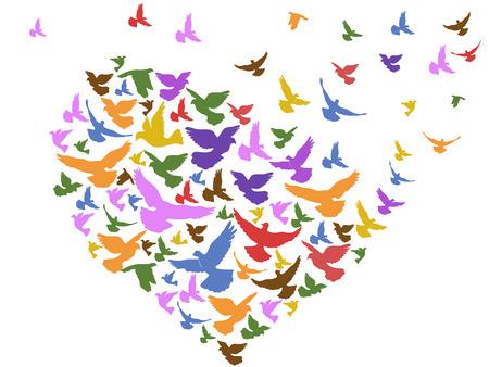 palomas volando: pájaros de colores aislados que vuelan con el corazón de fondo blanco Vectores
