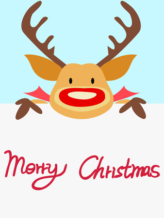 red nosed reindeer: red nosed reindeer christmas card with handwritten words for celebrating Christmas