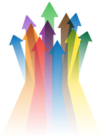 isolated colorful arrows to success on white background