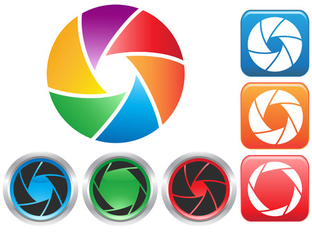 shutters: isolated colorful Camera shutter aperture symbol buttons icons on white background Illustration