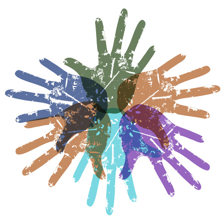 isolated teamwork color hands around on white backgroud
