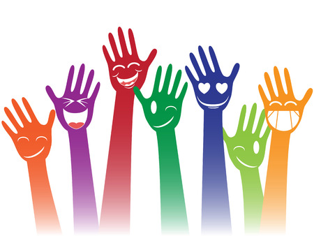 greeting people: isolated colorful happy smile hands on white background