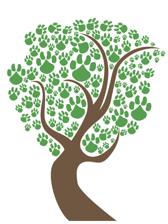 curve claw: isolated green pet paws tree on white background