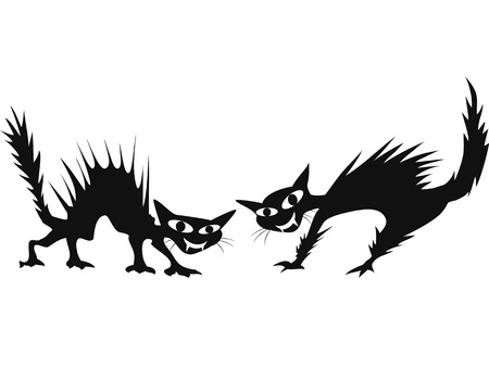 bad eyes: isolated two black cartoon scary cats on white background