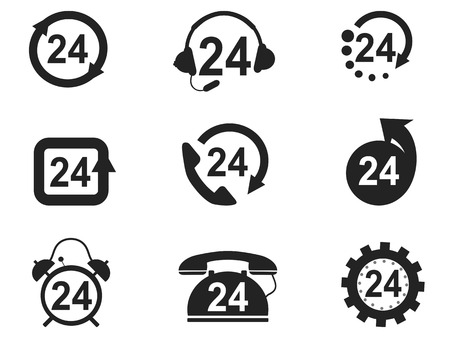 round the clock: isolated 24 Hours Icons set from white background