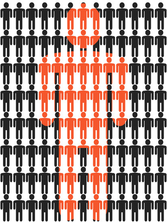 big figure: isolated black people stick figures with a big orange people stick figure