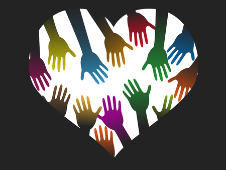 isolated diversity color hands of heart on black background Stock Illustratie