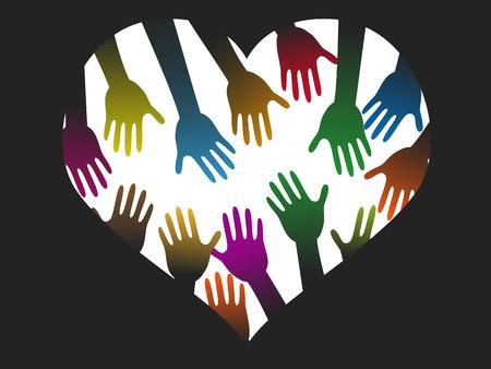 congregation: isolated diversity color hands of heart on black background Illustration