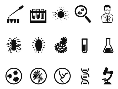bacteria microscope: isolated black microbiology icon set on white background