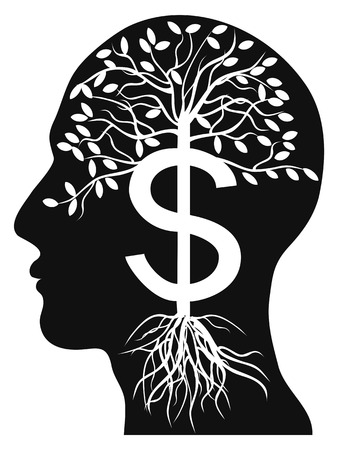 black money: isolated human head money tree on white background