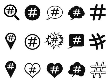 isolated hashtag icons set from white background