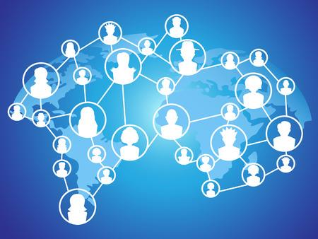 negocios internacionales: el fondo azul de la red social global de tecnología Vectores