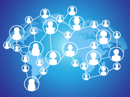 international business: the blue background of global technology social network