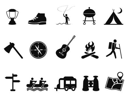 black white kayak: isolated black camping icons set from white background