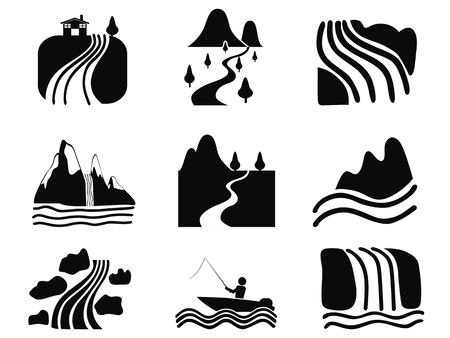 waterfall in forest: isolated black river icons set on white background