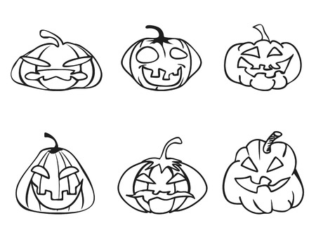 sketchy: isolated halloween pumpkin sketchy outline icons on white background Illustration