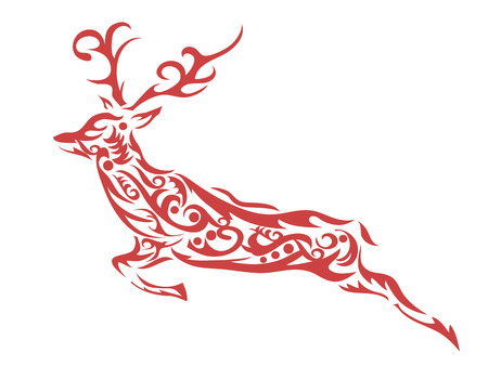 isolated red ornamental deer on white background Illustration