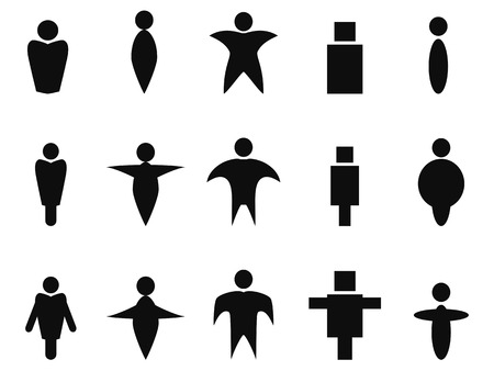 black people: isolated black abstract people icons symbol from white background