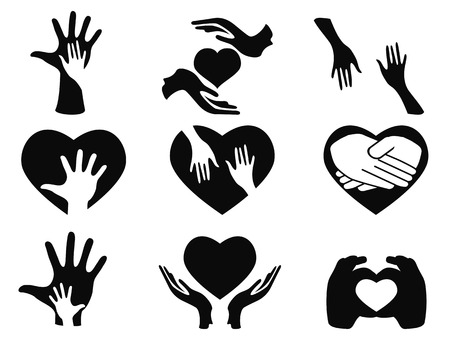 isolated caring hands icons set on white background