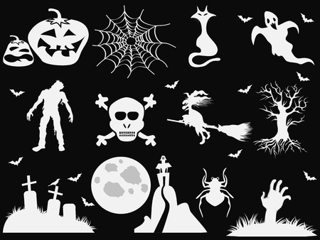 halloween background: isolated white halloween icons on black background