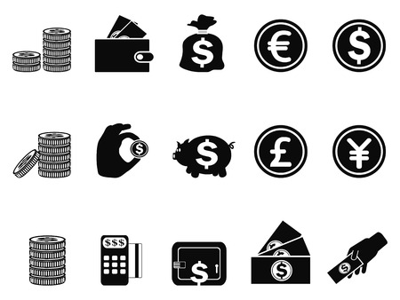 coin stack: isolated money and coin icons set from white background