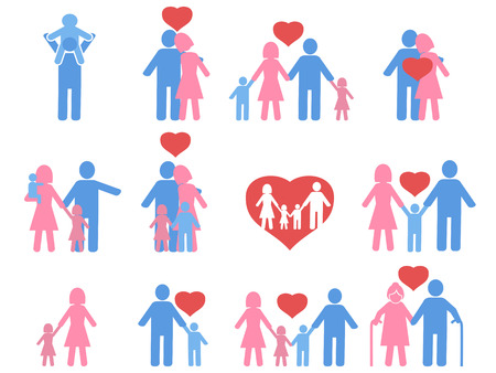 father and son: isolated color family icons set from white background Illustration