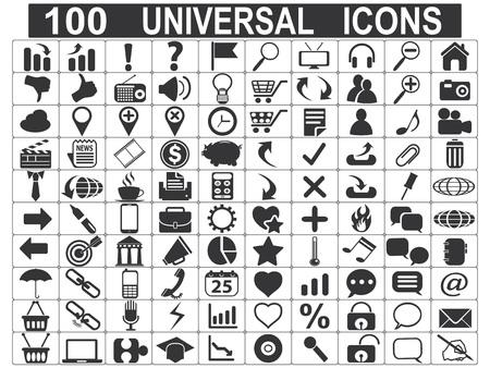 100 iconos aislados web universales establecidos en el fondo blanco