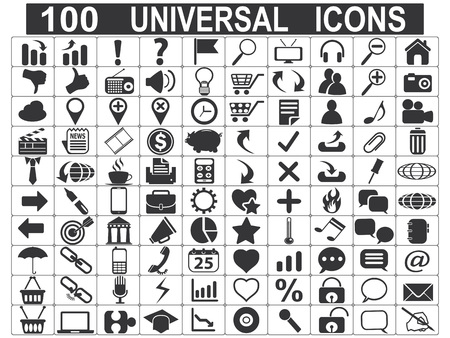 computer icons: isolated 100 universal web icons set on white background
