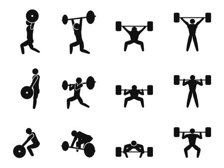 strichmännchen: Gewichtheben isoliert Symbol auf weißem Hintergrund eingestellt