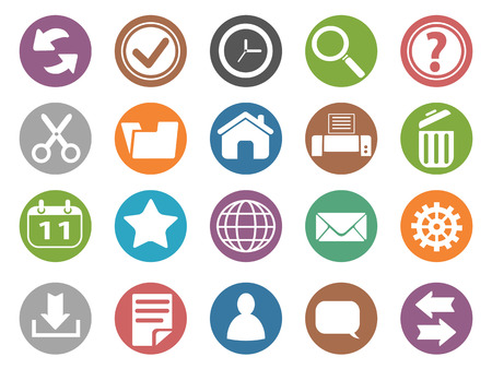 icon buttons: isolated interface and toolbar buttons icon set from white background Illustration
