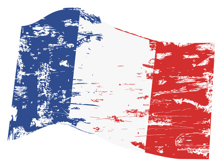 flag of france: isolated grungy french flag from white background