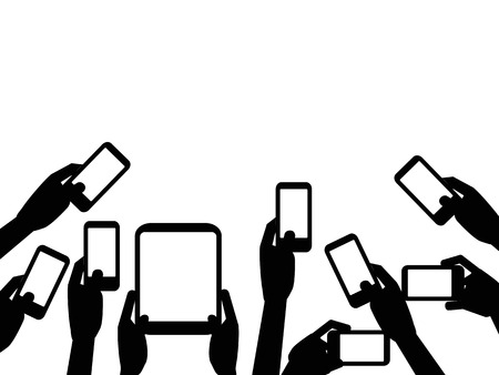 crowd happy people: isolated People hands holding mobile phones with copy space background