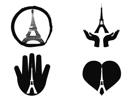 killed: isolated peace for paris icons set from white background