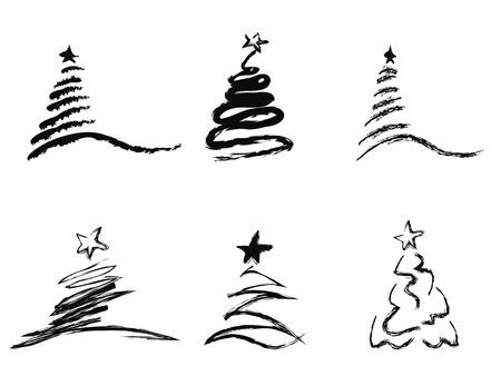 isolated black abstract Christmas tree from white background Vettoriali