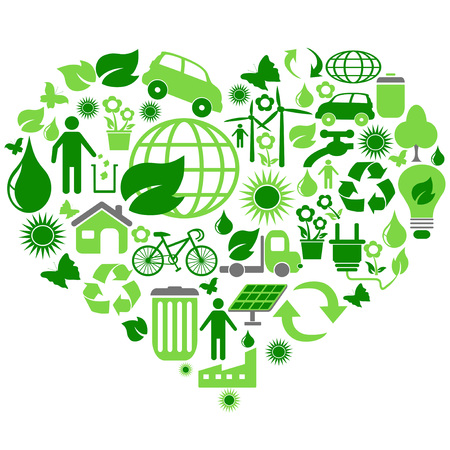 water damage: isolated eco green symbols in heart shape on white background