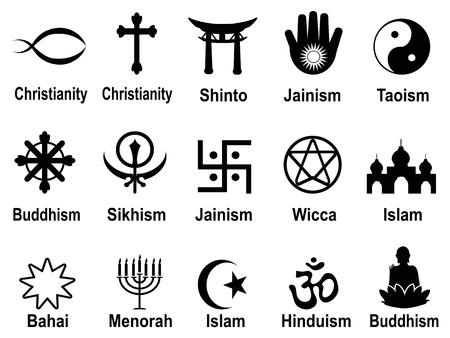 jainism: isolated black religious symbols icons set from white background Illustration
