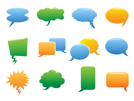 isolated color speech bubble icons on white background Illustration