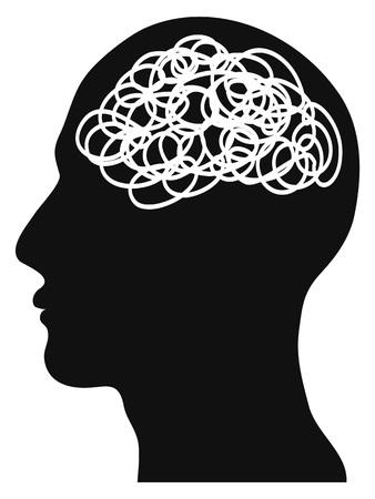 Geïsoleerde verward hoofd op witte achtergrond Vector Illustratie